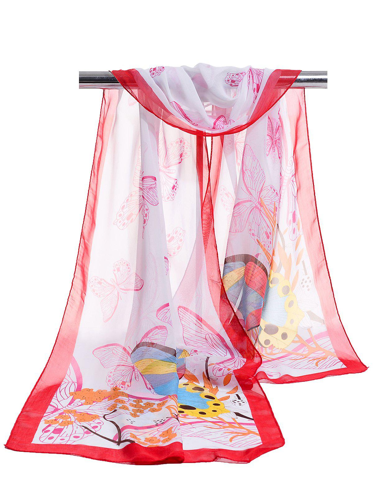 Flying Butterfly Floral Pattern Lightweight Chiffon Scarf - JACINTH
