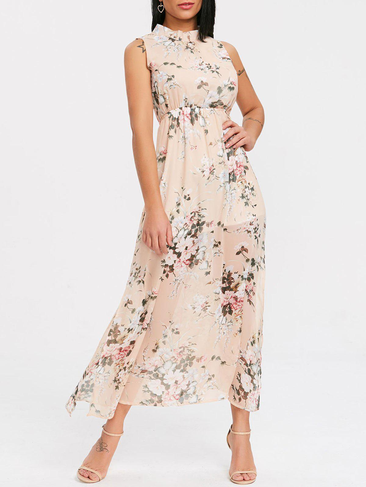 Bohemian Open Back Floral Chiffon Dress - FLORAL S
