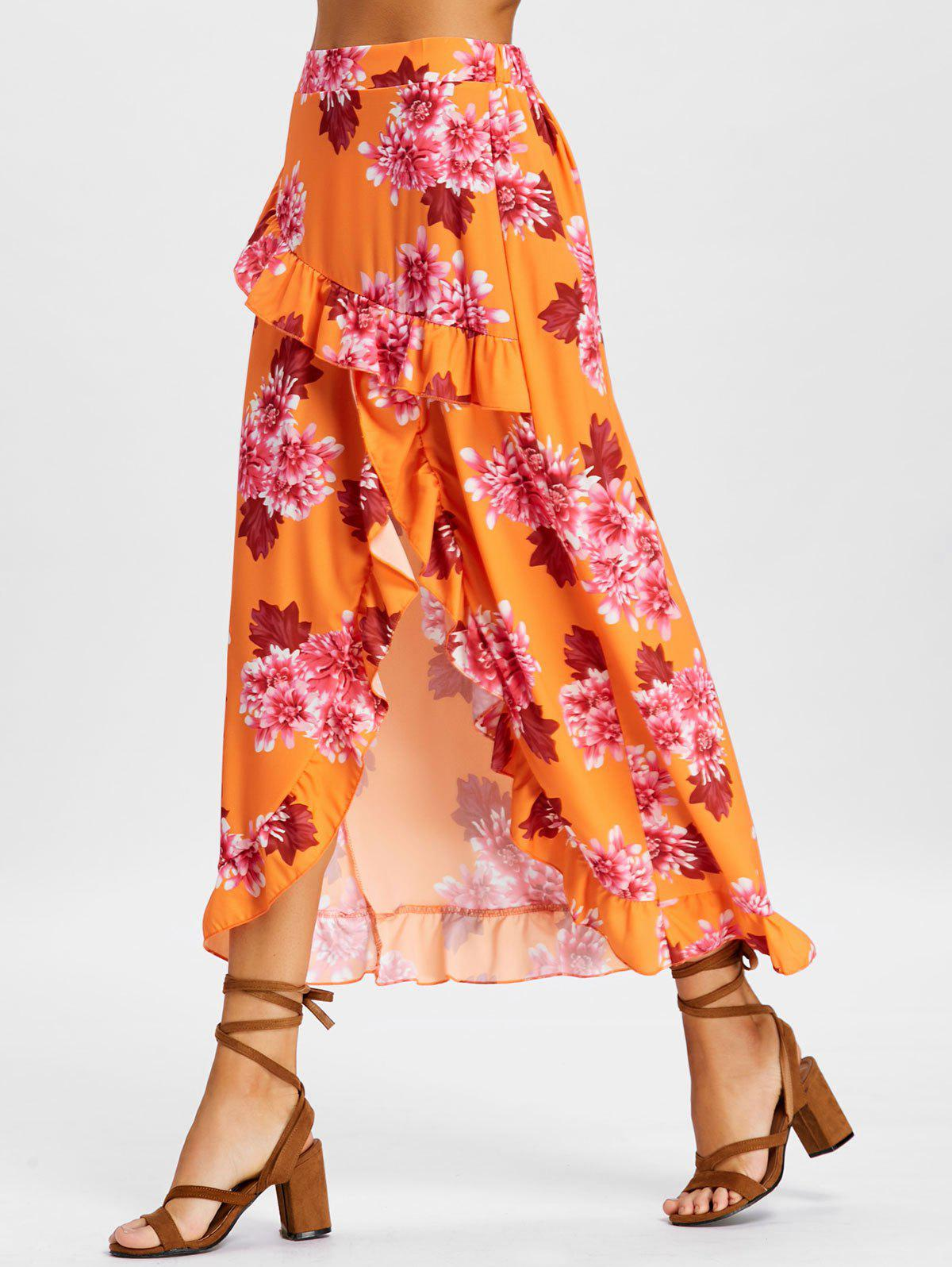 Floral Ruffle High Low Skirt - BRIGHT ORANGE XL