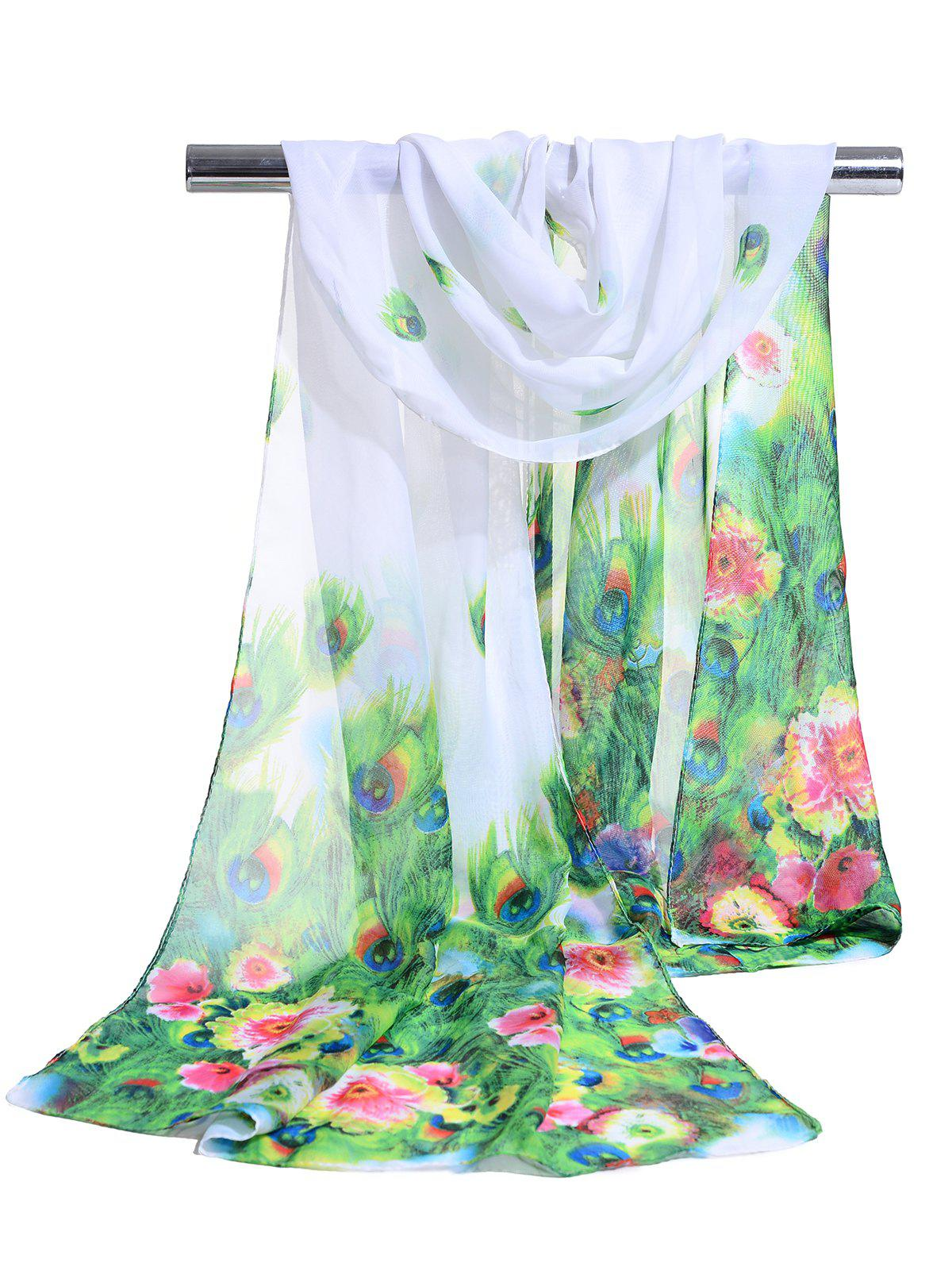 Peacock Feathers Pattern Soft Silky Scarf - WHITE