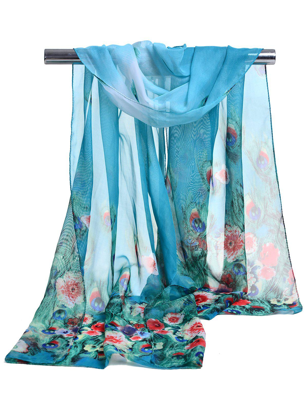 Peacock Feathers Pattern Soft Silky Scarf - BLUE