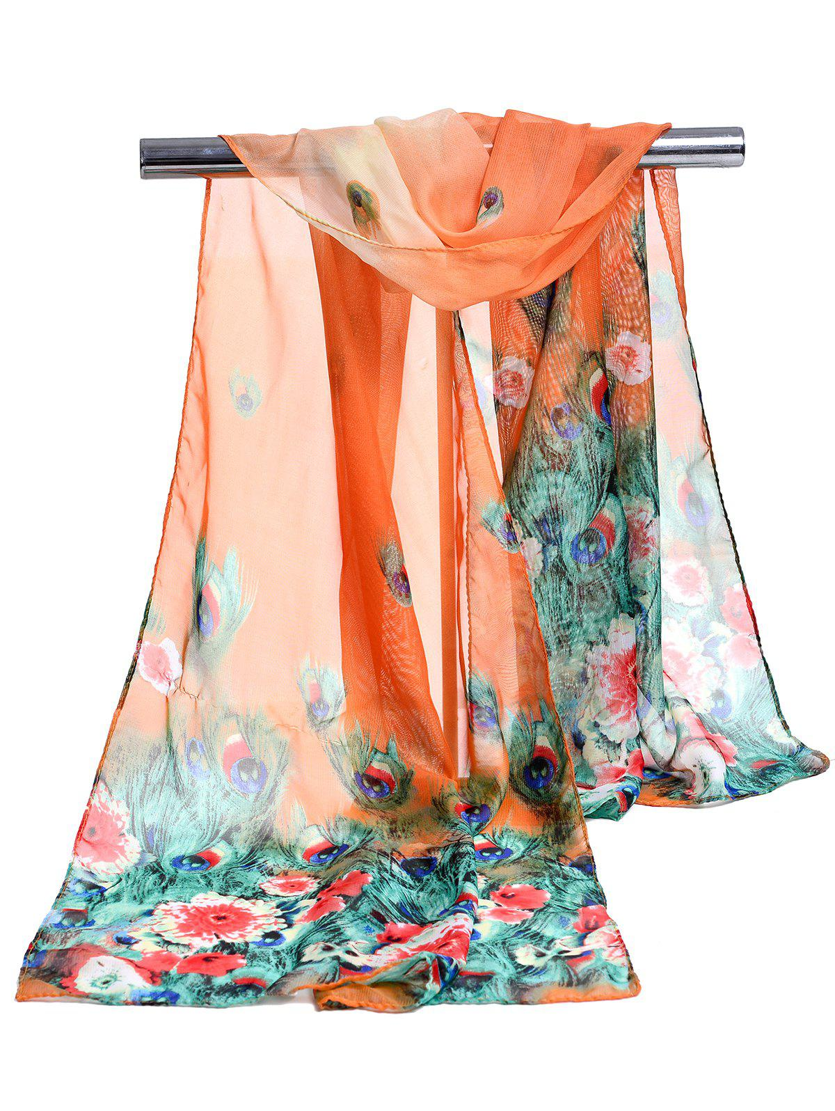 Peacock Feathers Pattern Soft Silky Scarf - ORANGE YELLOW
