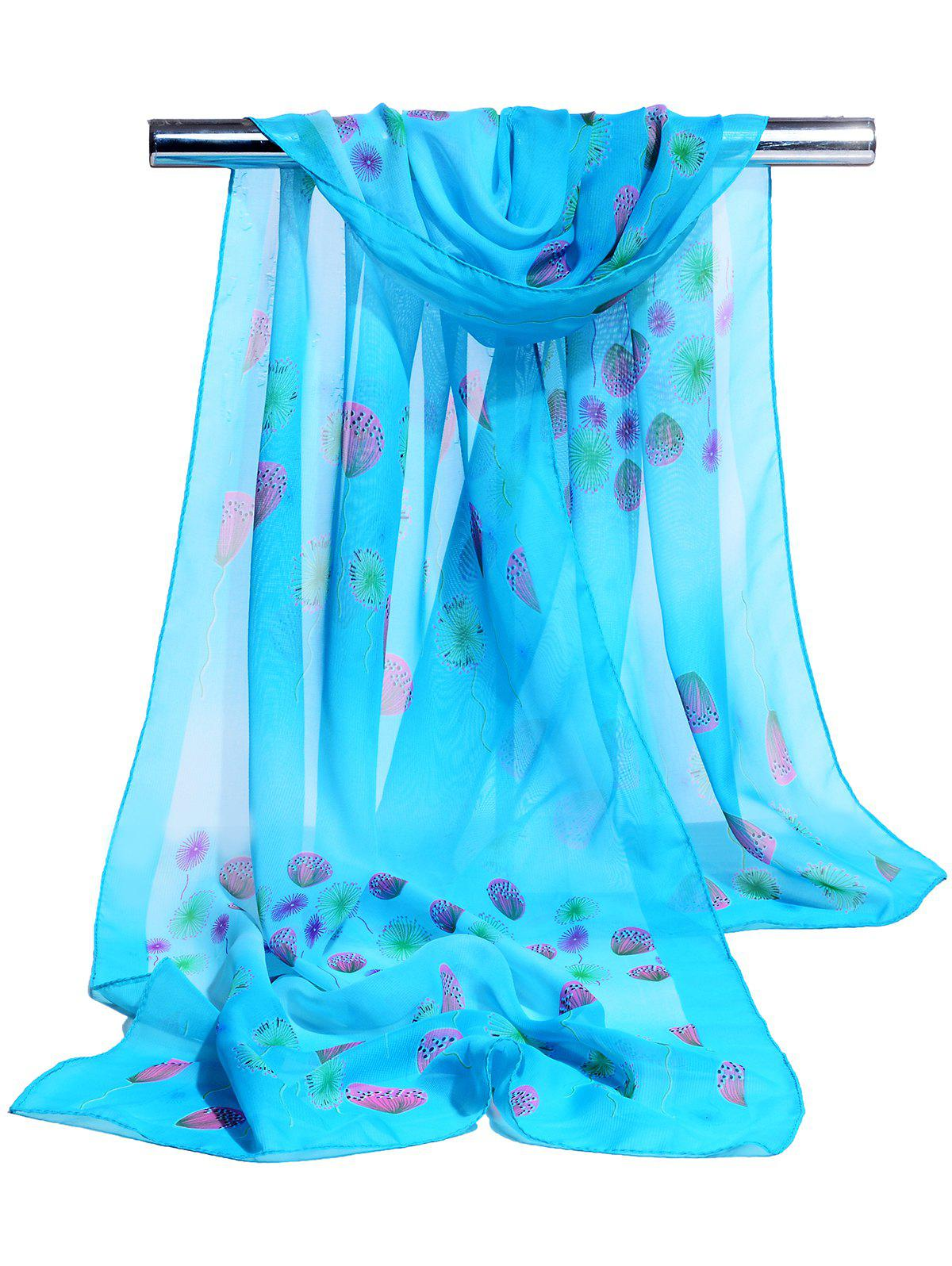 Unique Dandelion Pattern Embellished Chiffon Scarf - BLUE