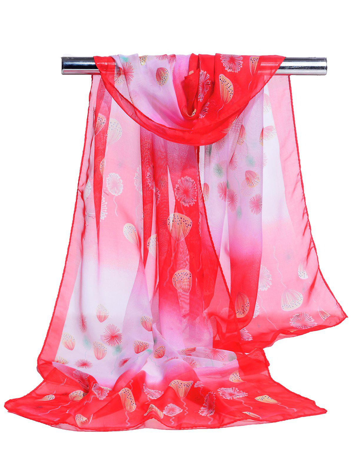 Unique Dandelion Pattern Embellished Chiffon Scarf - RED
