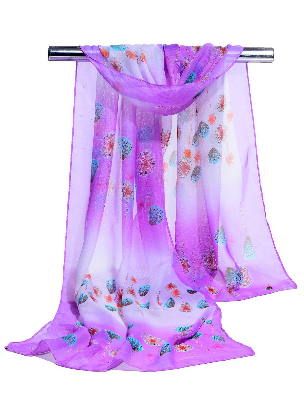 Unique Dandelion Pattern Embellished Chiffon Scarf - PURPLE