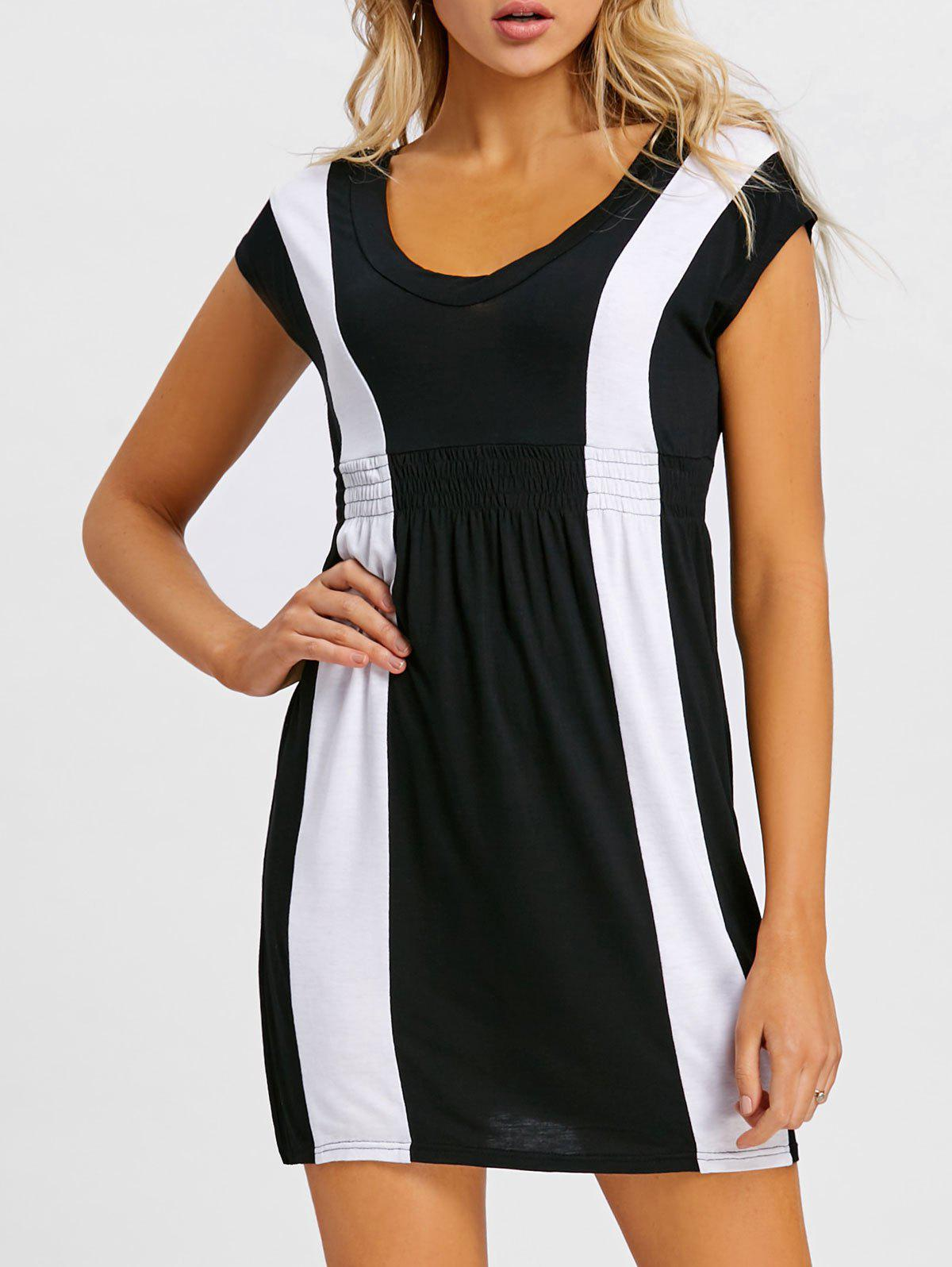 Empire Waist Mini Casual Dress - BLACK 2XL