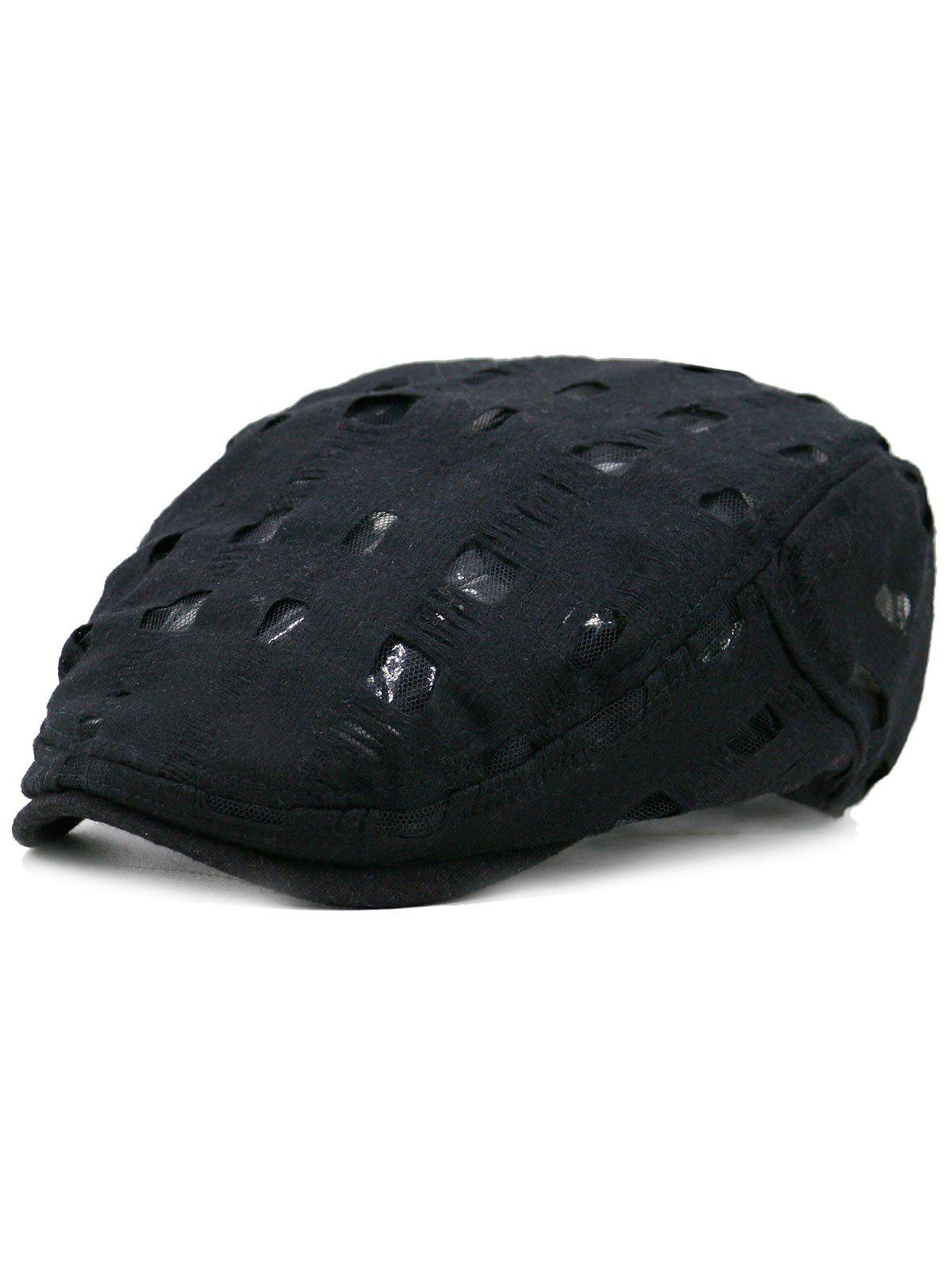 Unique Hollow Hole Pattern Cabbie Hat - BLACK