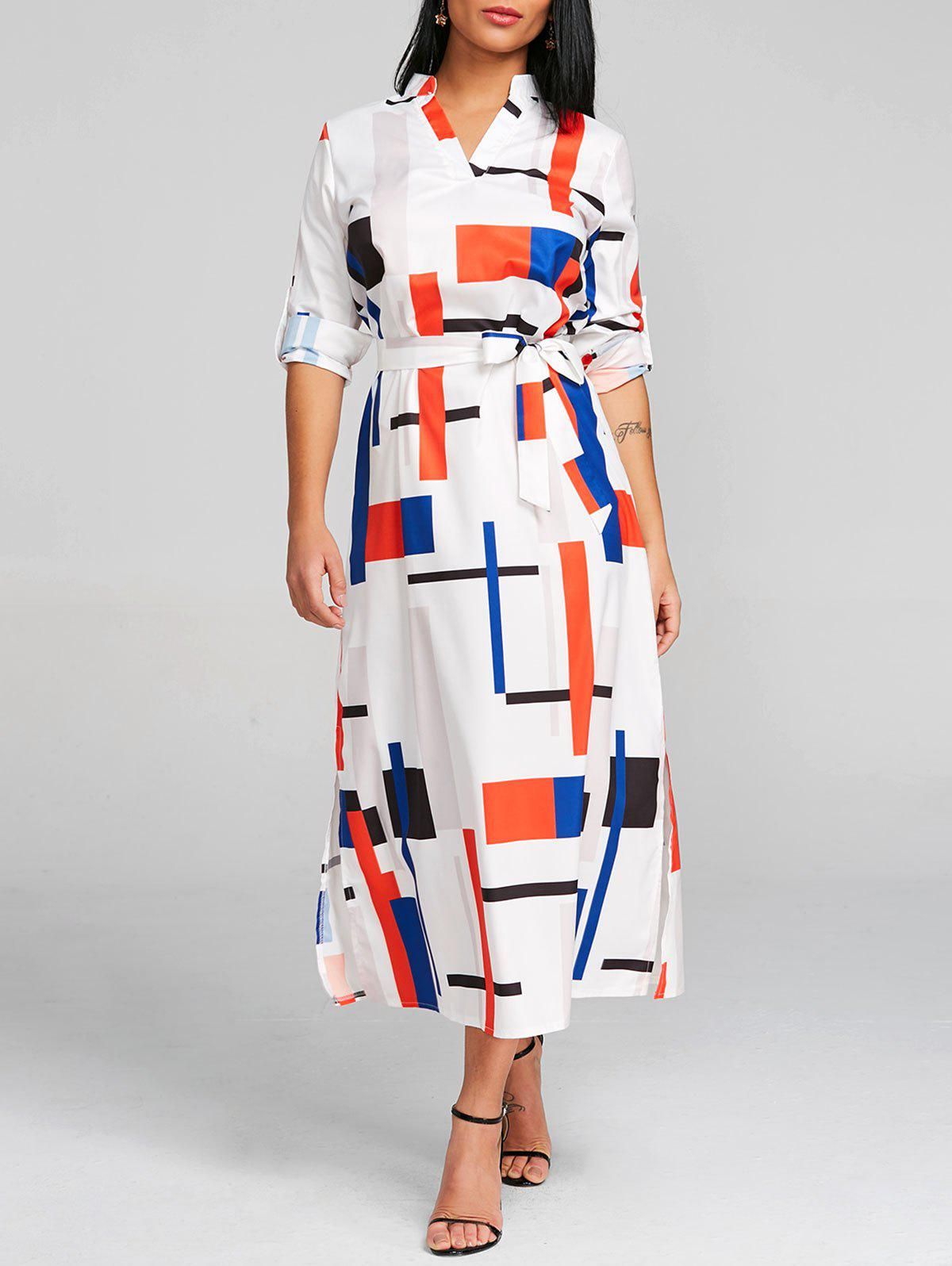 Long Sleeve Belted Geometric Midi Dress - WHITE S