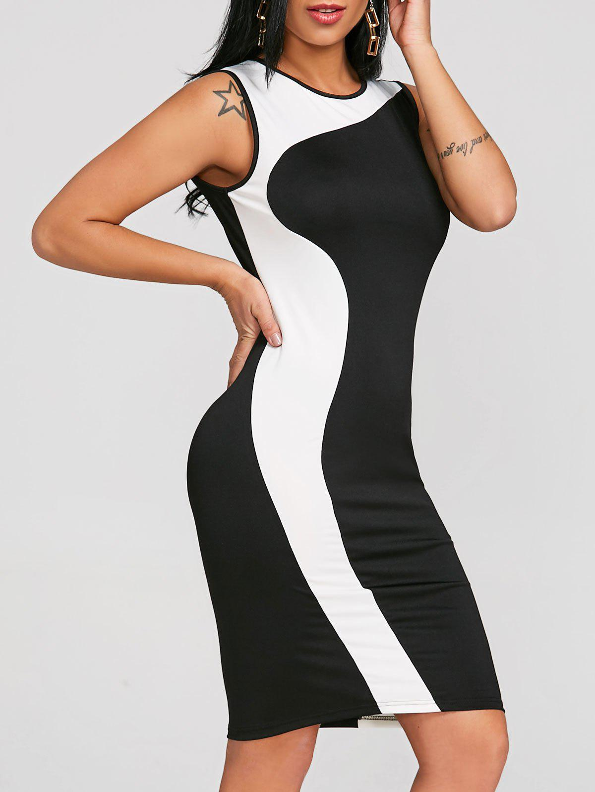 Color Trim Sleeveless Bodycon Dress - WHITE/BLACK 2XL