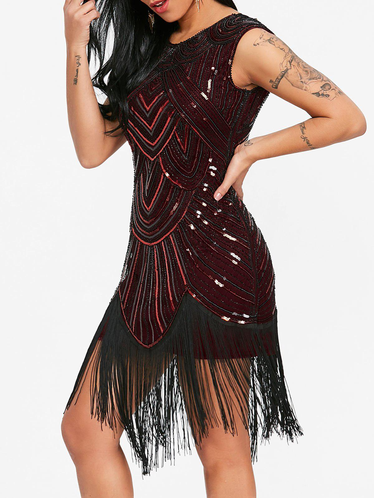 Sequined Fringe Midi Bodycon Dress - DEEP RED L