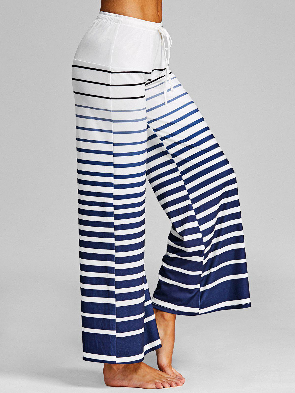 Ombre Striped Casual Wide Leg Pants - WHITE L