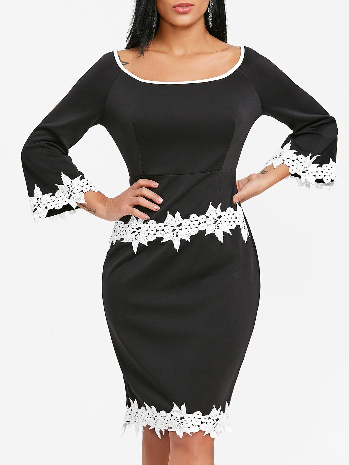 Crochet Trimmed Flare Sleeve Bodycon Dress - BLACK L