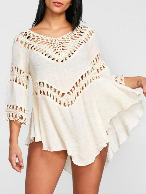 c13466c32cb72b LIMITED OFFER  2019 Scoop Neck Crochet Panel Cover Up Top In OFF ...