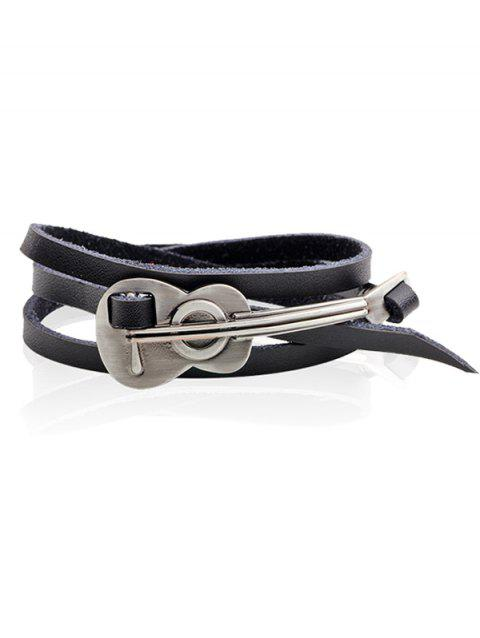 Retro Alloy Cello Faux Leather Wrap Bracelet - BLACK