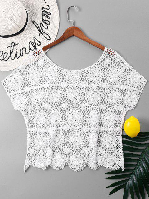 Crochet Openwork Cover Up Top - WHITE ONE SIZE