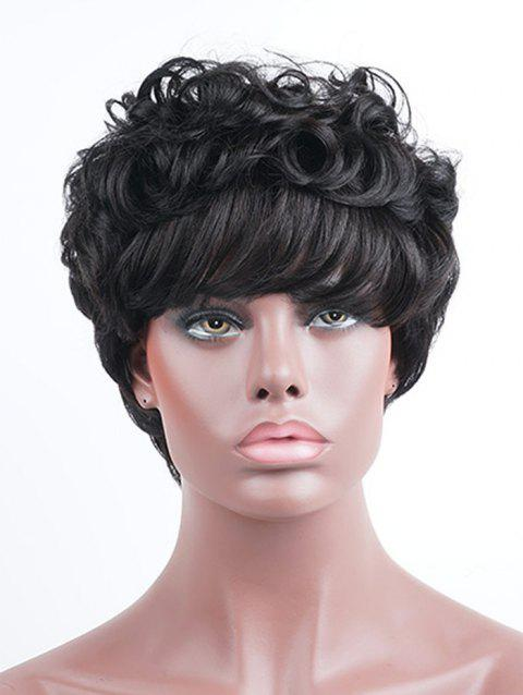 Short Inclined Bang Layered Fluffy Curly Human Hair Wig - BLACK