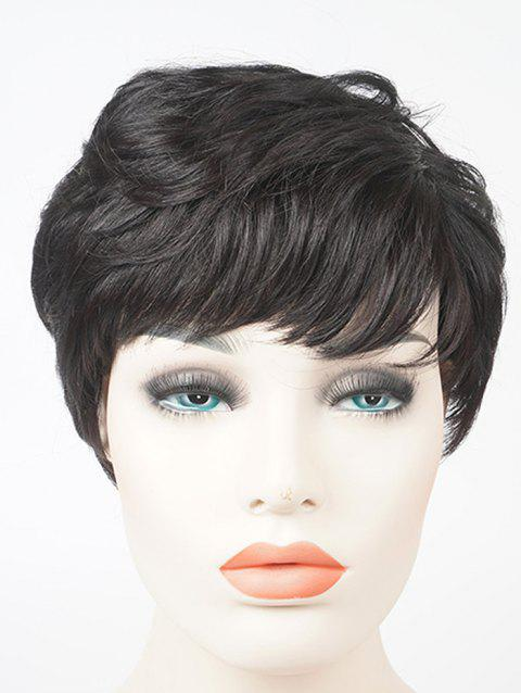 Short Side Bang Slightly Curly Layered Human Hair Wig - BLACK