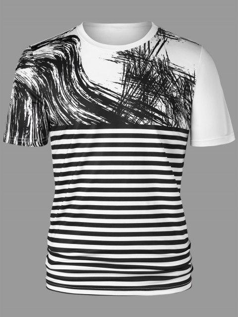 Two Tone Striped Short Sleeve Tee - WHITE/BLACK L
