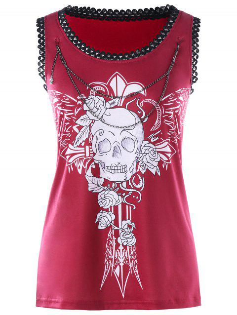Chains Embellished Wings Skull Tank Top - RED XL