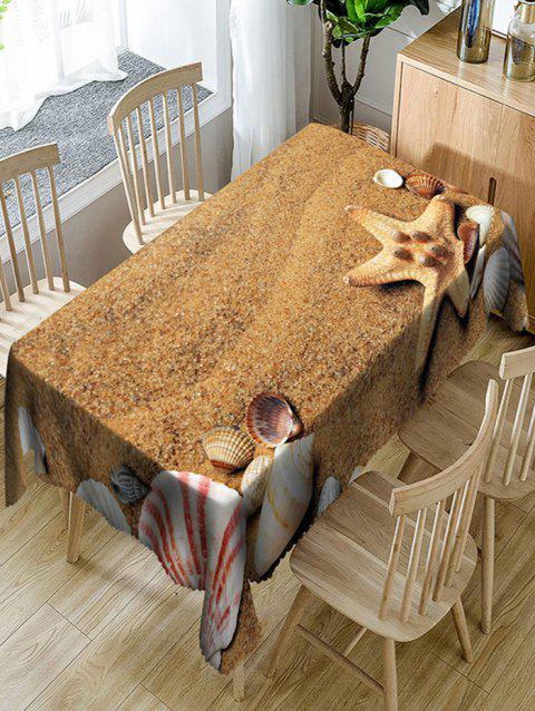Sand Shell Starfish Print Waterproof Dining Table Cloth - YELLOW W60 INCH * L84 INCH