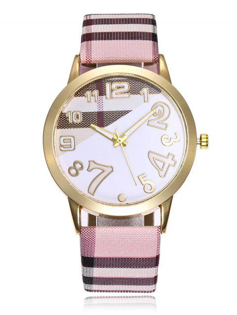 Plaid Print Band Number Watch - PINK