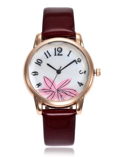Faux Leather Strap Floral Face Watch - DARK RED