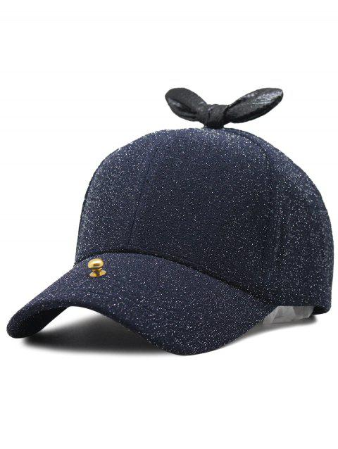 Unique Bowknot Embellished Glitter Snapnack Hat - NAVY