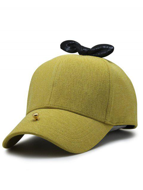 Unique Bowknot Embellished Glitter Snapnack Hat - YELLOW