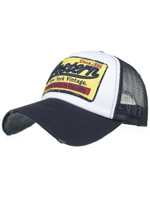 Letter Embroidery Adjustable Mesh Sunscreen Hat - CADETBLUE