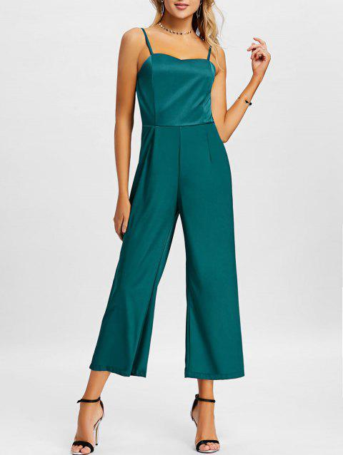 Wide Leg Slip Jumpsuit - GREEN S