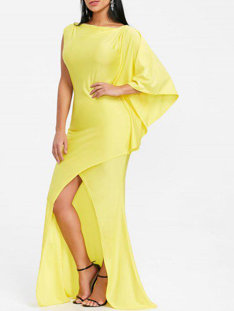 Front Slit Maxi Asymmetric Prom Dress - YELLOW XL