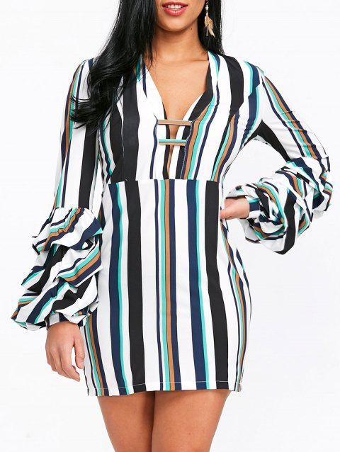 Striped Plunging Mini Dress - COLORMIX L