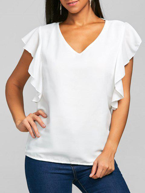 V Neck Flounced Chiffon Blouse - WHITE L