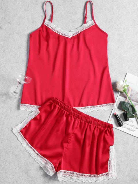 Summer Cami Lace Trim Sleep Set - RED L
