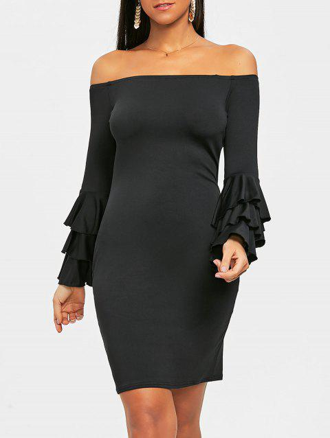 Layered Sleeve Off The Shoulder Mini Dress - BLACK L