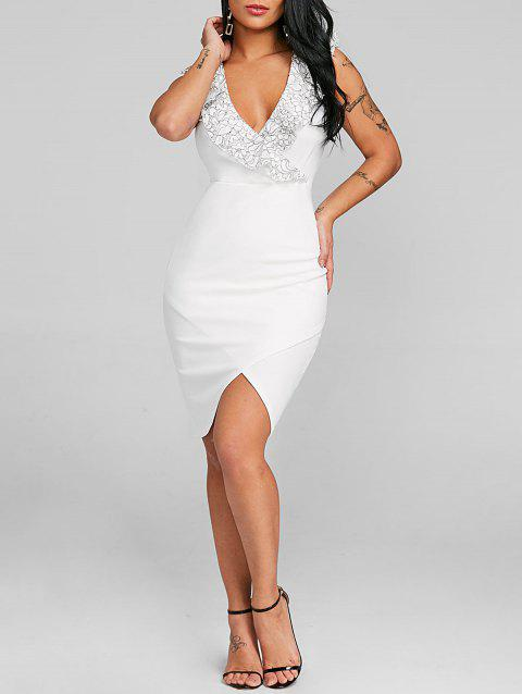 Plunge Applique Bodycon Party Dress - WHITE M