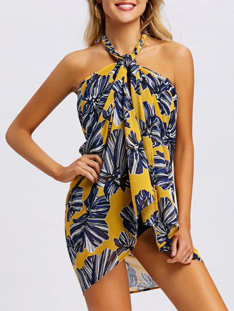 Backless Floral Convertible Cover Up Dress - YELLOW L