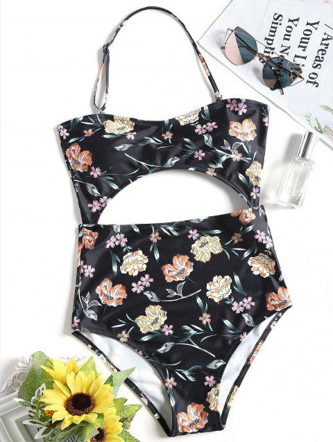 One Piece Floral Cut Out Bandeau Swimsuit - BLACK S