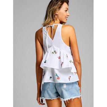Floral Embroidered Tank Top - WHITE S