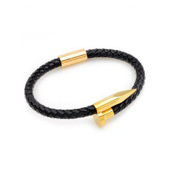 Weaved Faux Leather Metal Nail Bracelet - GOLDEN