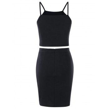 Embroidered Crop Top and Bodycon Skirt - BLACK M