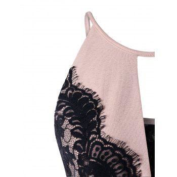 Two Tone Lace Eyelash Trim Camisole - NUDE PINK XL
