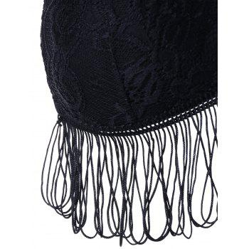 Full Cup Cami Strap Fringed Lace Bra - BLACK ONE SIZE