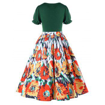Plus Size Floral Flounced Vintage Tea Length Dress - GREEN 3XL