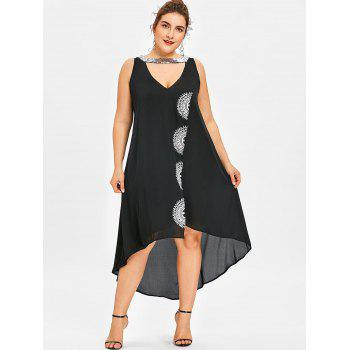 Plus Size Sleeveless Sparkly Neck High Low Dress - BLACK 3XL