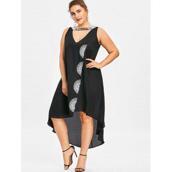 Plus Size Sleeveless Sparkly Neck High Low Dress - BLACK 4XL