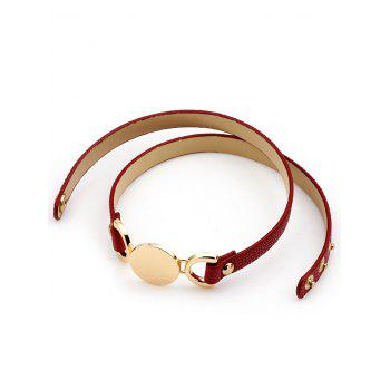 Artificial Leather Disc Wrap Bracelet - RED