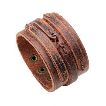Vintage PU Leather Wide Bracelet - BROWN