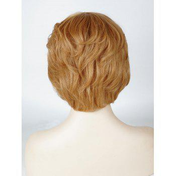 Short Layered Slightly Curly Human Hair Wig with Side Bang - LIGHT BROWN