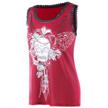 Chains Embellished Wings Skull Tank Top - RED M